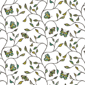Butterflies and branches Mustard and Teal