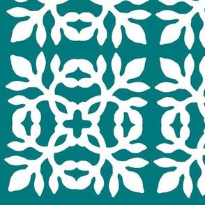 Papercut Fabric teal-green