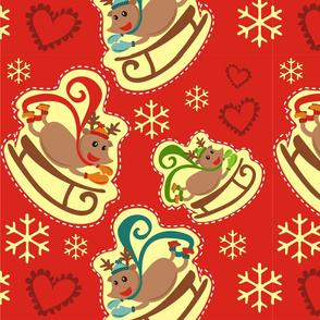 Red Reindeer Sleigh Big