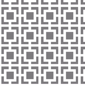 Moroccan Square in Gray and White