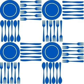 "picnic gingham, 2"" blue and white"