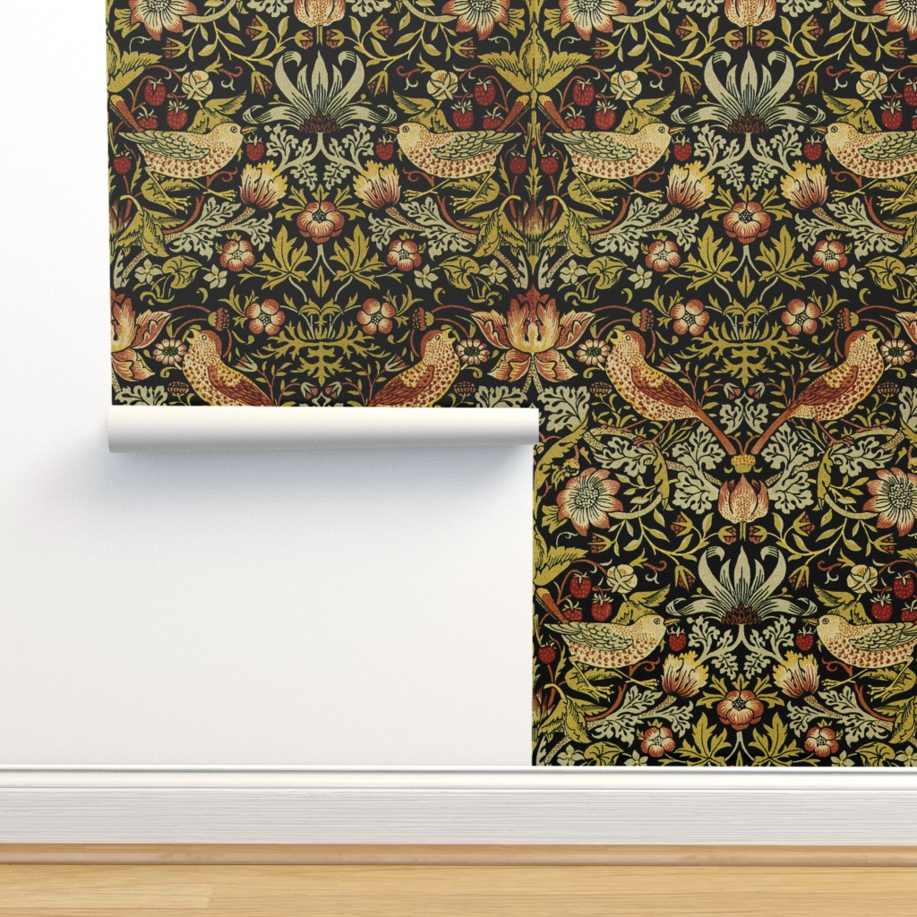 Isobar Durable Wallpaper featuring William Morris ~ Strawberry Thief ~ Intense by peacoquettedesigns