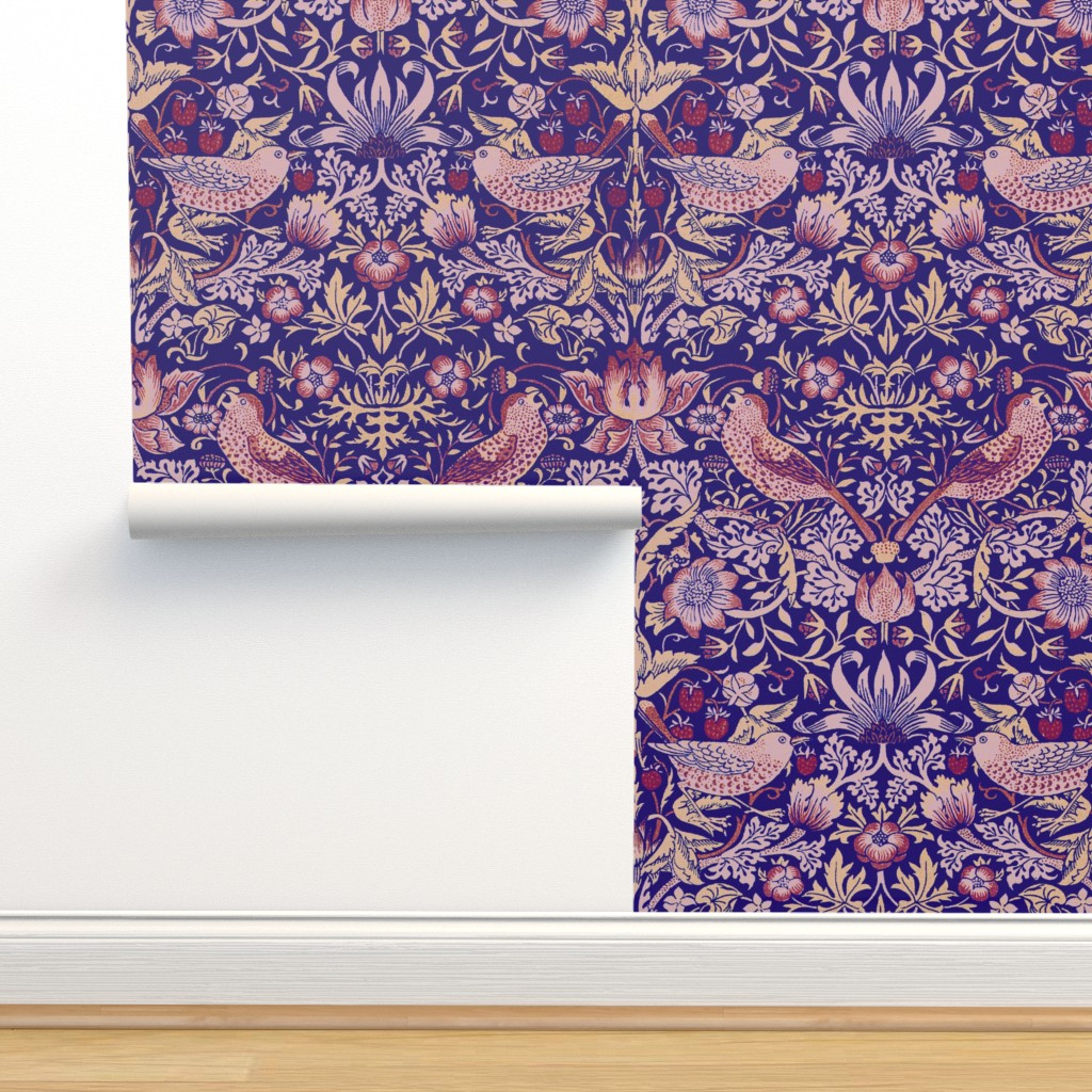 Isobar Durable Wallpaper featuring William Morris ~ Strawberry Thief ~ Violet by peacoquettedesigns
