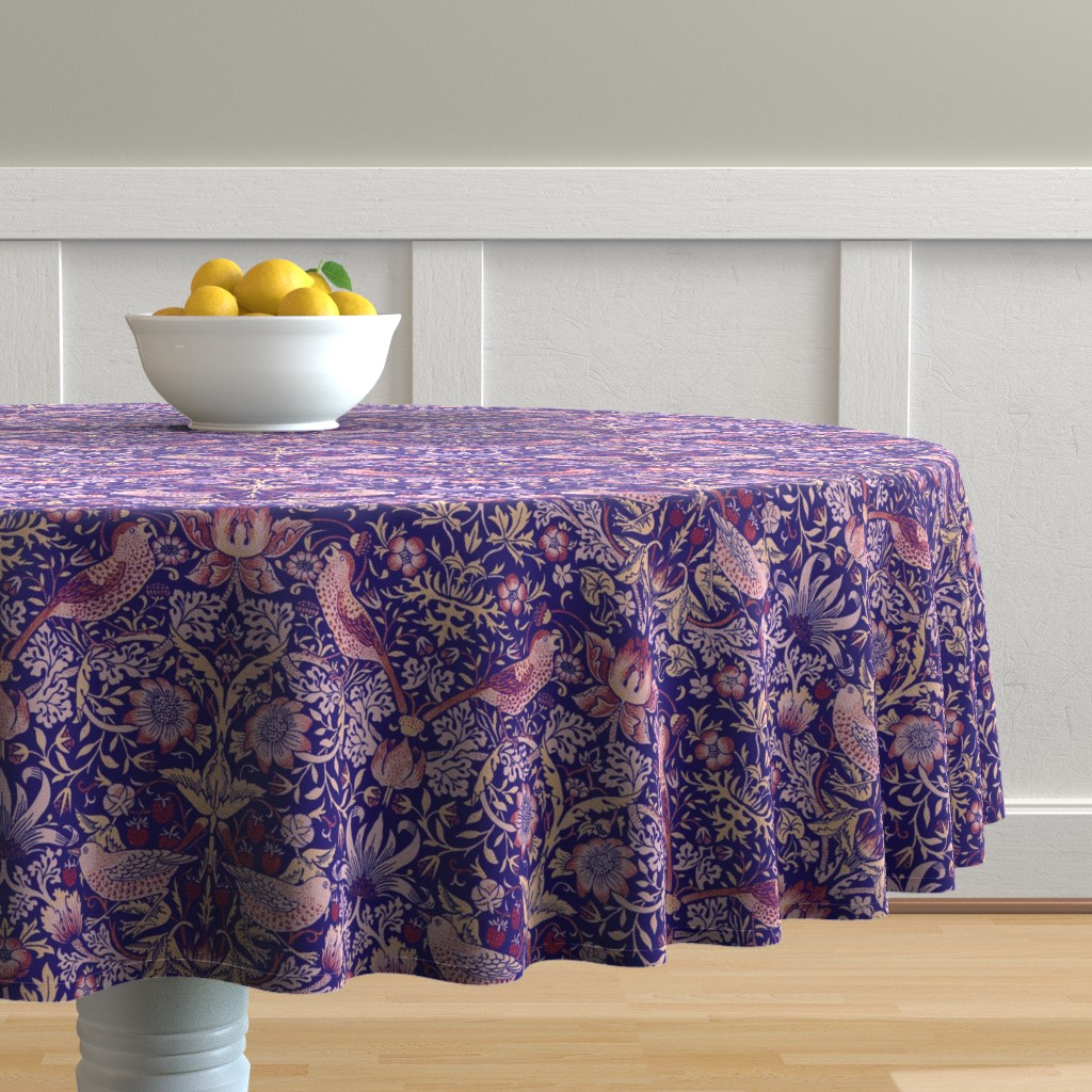 Malay Round Tablecloth featuring William Morris ~ Strawberry Thief ~ Violet by peacoquettedesigns