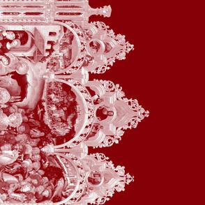 The Nativity Scene Border Print ~ Red & White