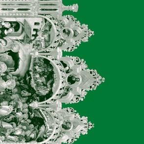 The Nativity Scene Border Print ~ Green & White