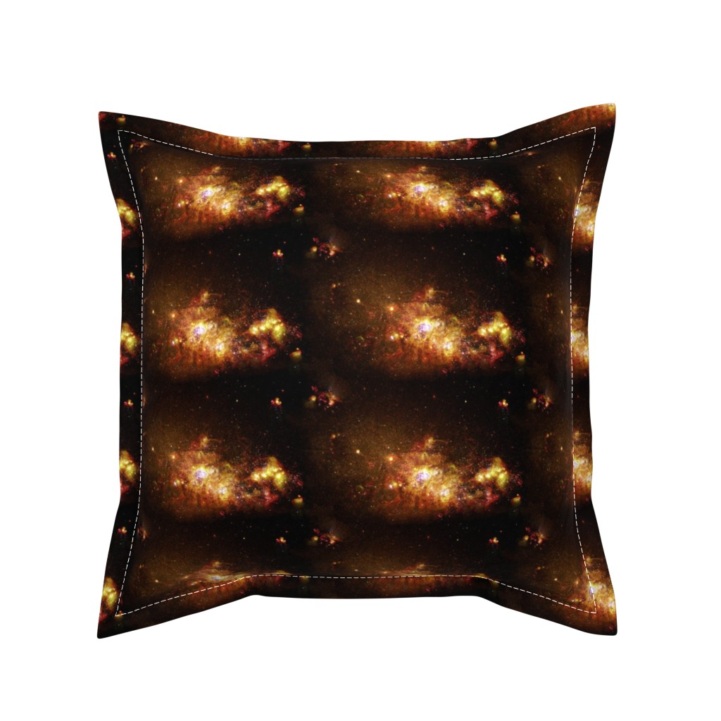 Serama Throw Pillow featuring Stars // Orange and Red Fiery Galaxy by stars_and_stones