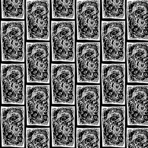 Framed Treasures - Dragon I (white on black)