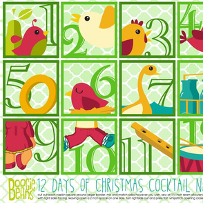 12 days of Christmas Cocktail Napkins