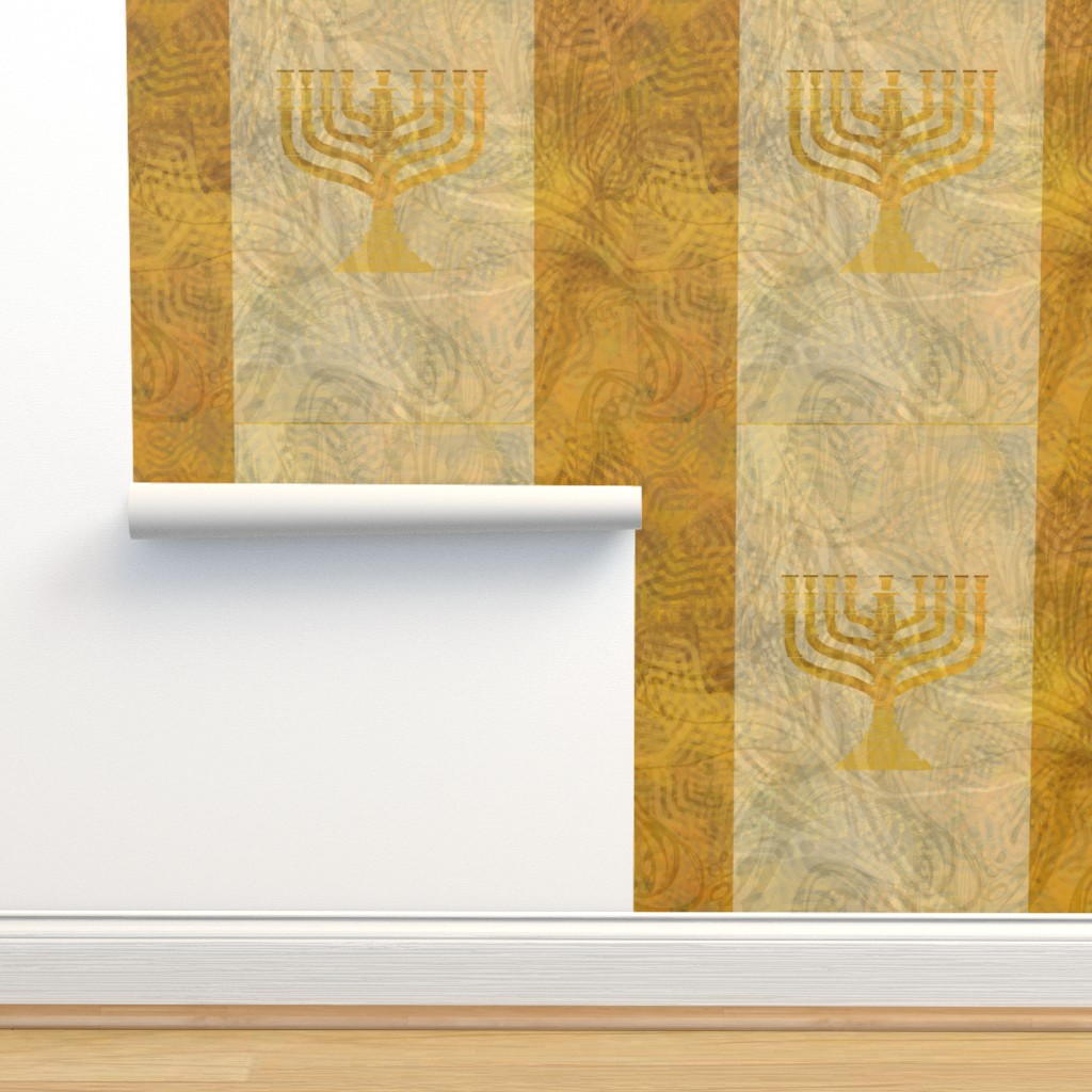 Isobar Durable Wallpaper featuring Gold white menorah---tint by wren_leyland
