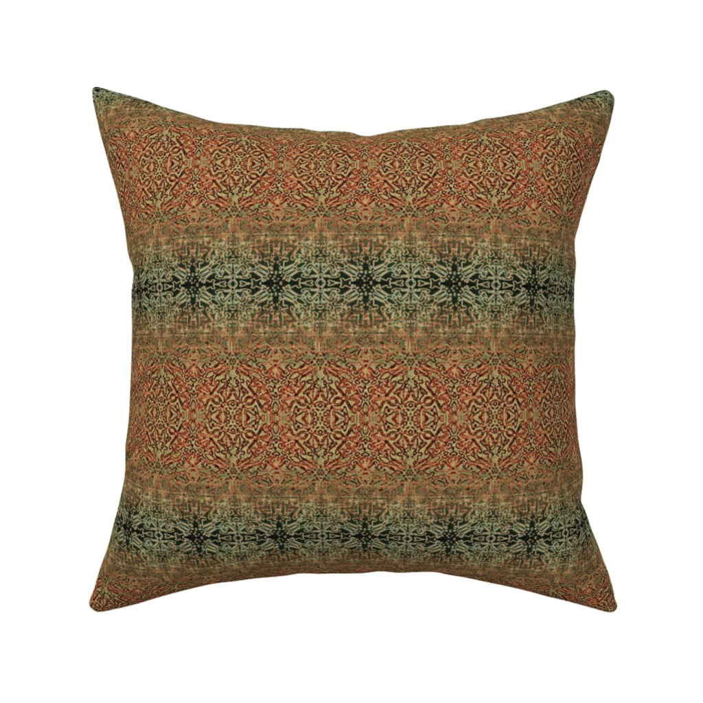 Catalan Throw Pillow featuring Tapestry Christmas - Antique Red and Green by wren_leyland