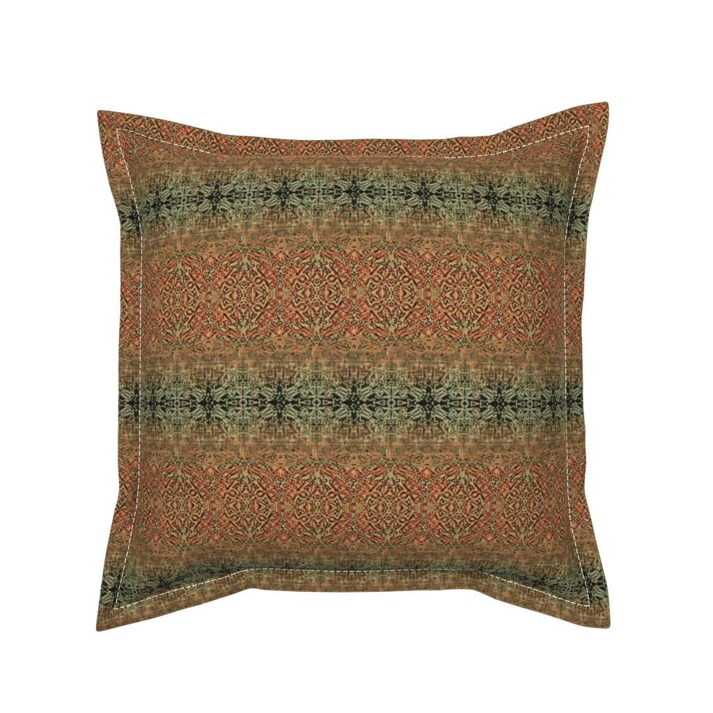 Serama Throw Pillow featuring Tapestry Christmas - Antique Red and Green by wren_leyland