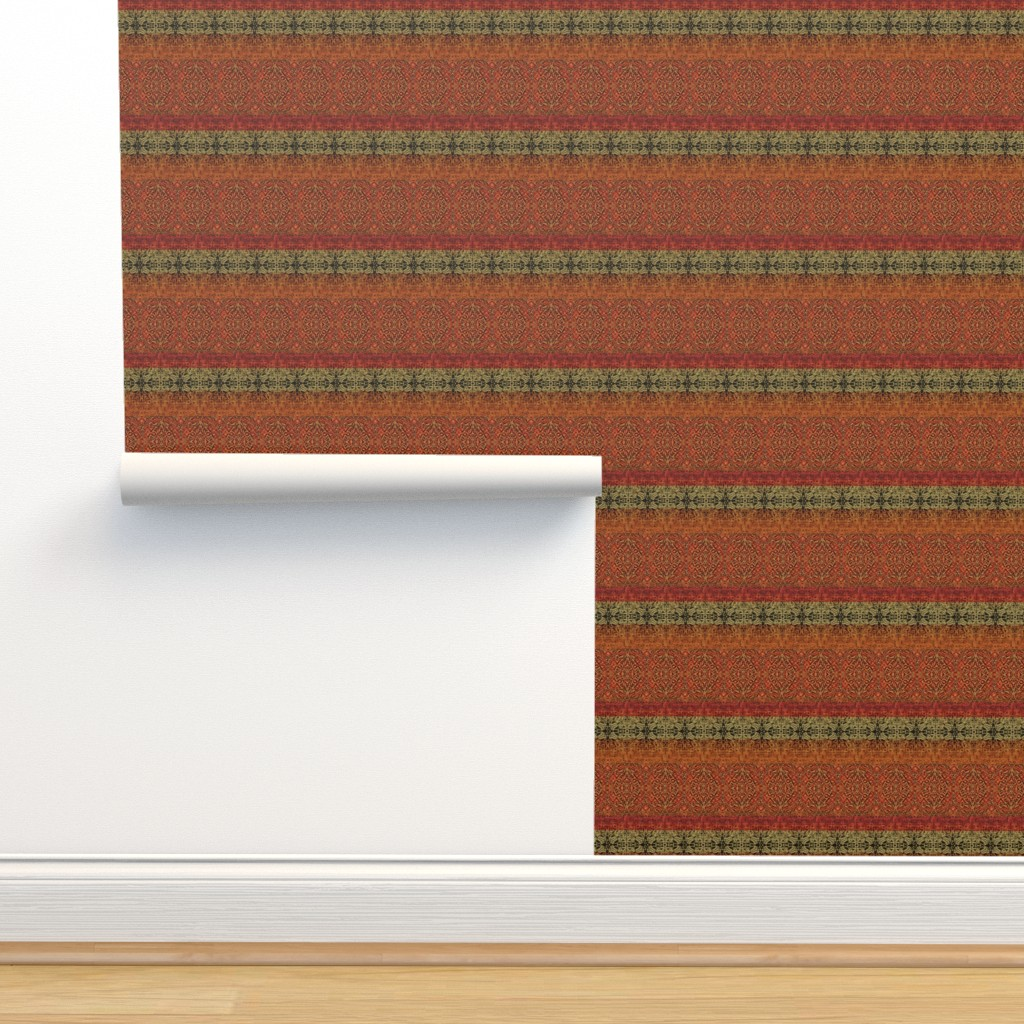 Isobar Durable Wallpaper featuring Antique Tapestry Reds with Taupe and Green by wren_leyland