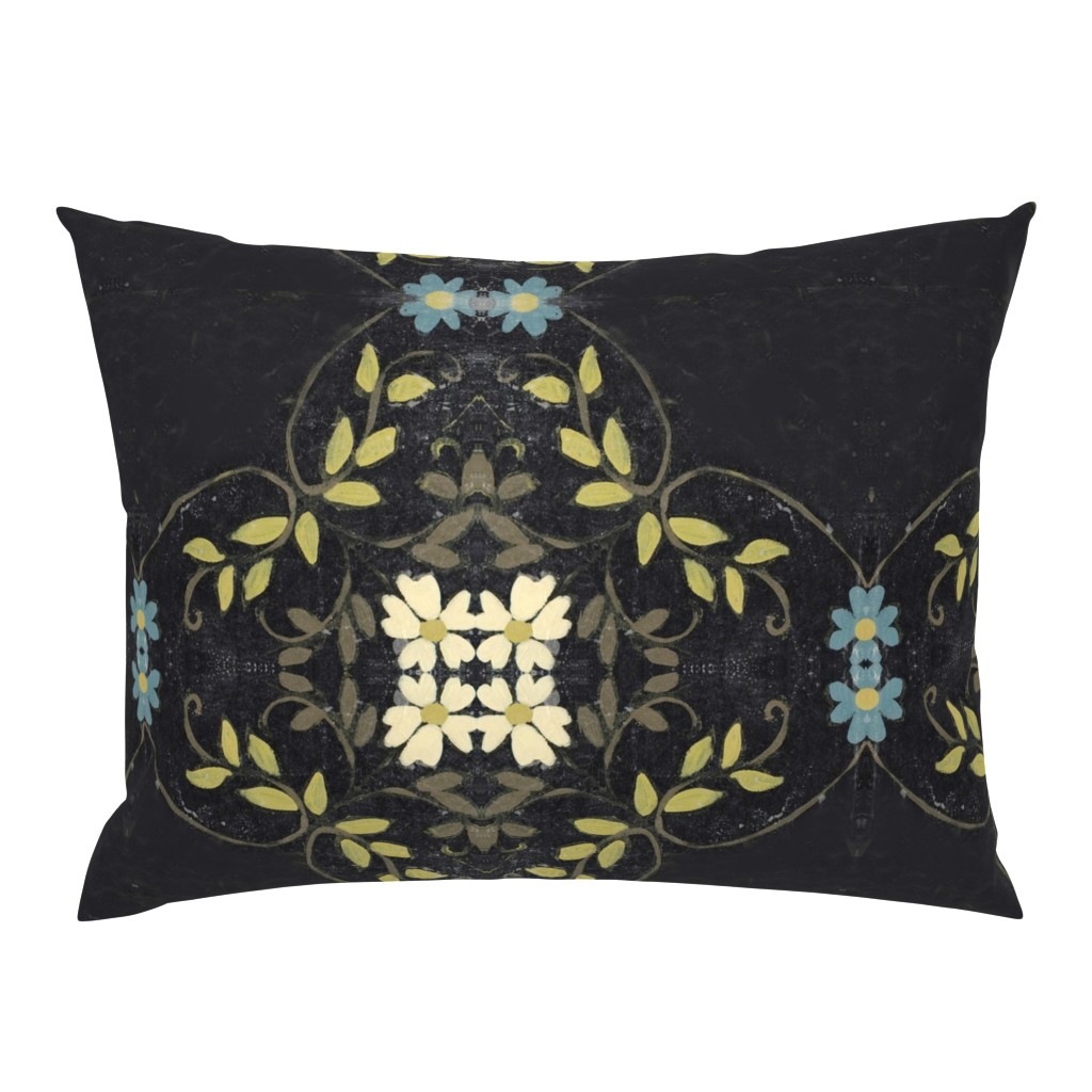 Campine Pillow Sham featuring Turquoise, Lime, Cream and Black floral vines by maria_pezzano