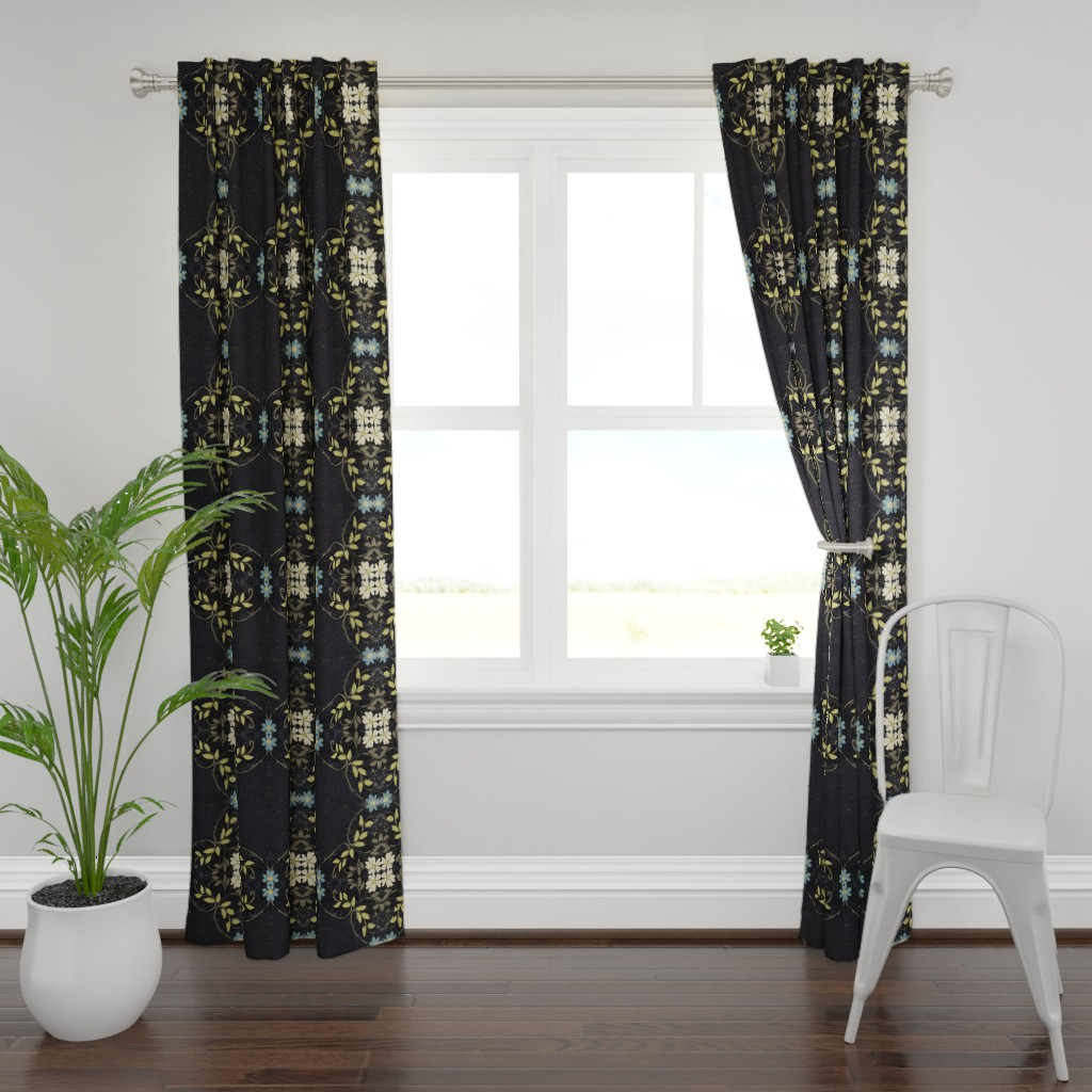 Plymouth Curtain Panel featuring Turquoise, Lime, Cream and Black floral vines by maria_pezzano