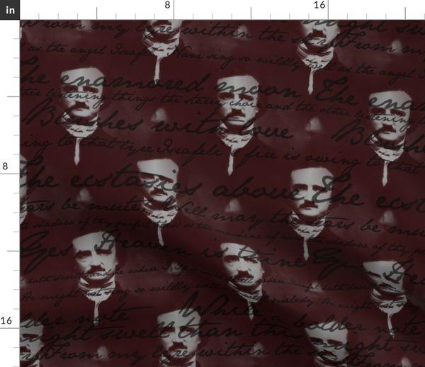 Stoff Meterware Gothic Text Schrift Gedicht Ausruf Handschrift Poe Gotisch