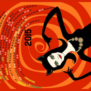 A purrfect 2015: catwoman tea towel calendar (red)