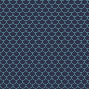 Feather Scales in Navy and Teal