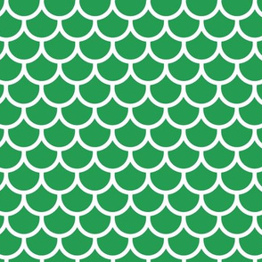 Feather Scales in Green and White