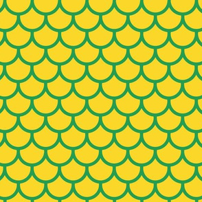 Feather Scales in Yellow and Green