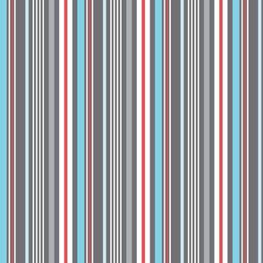 Kitchen Stripe - Grey Red Blue