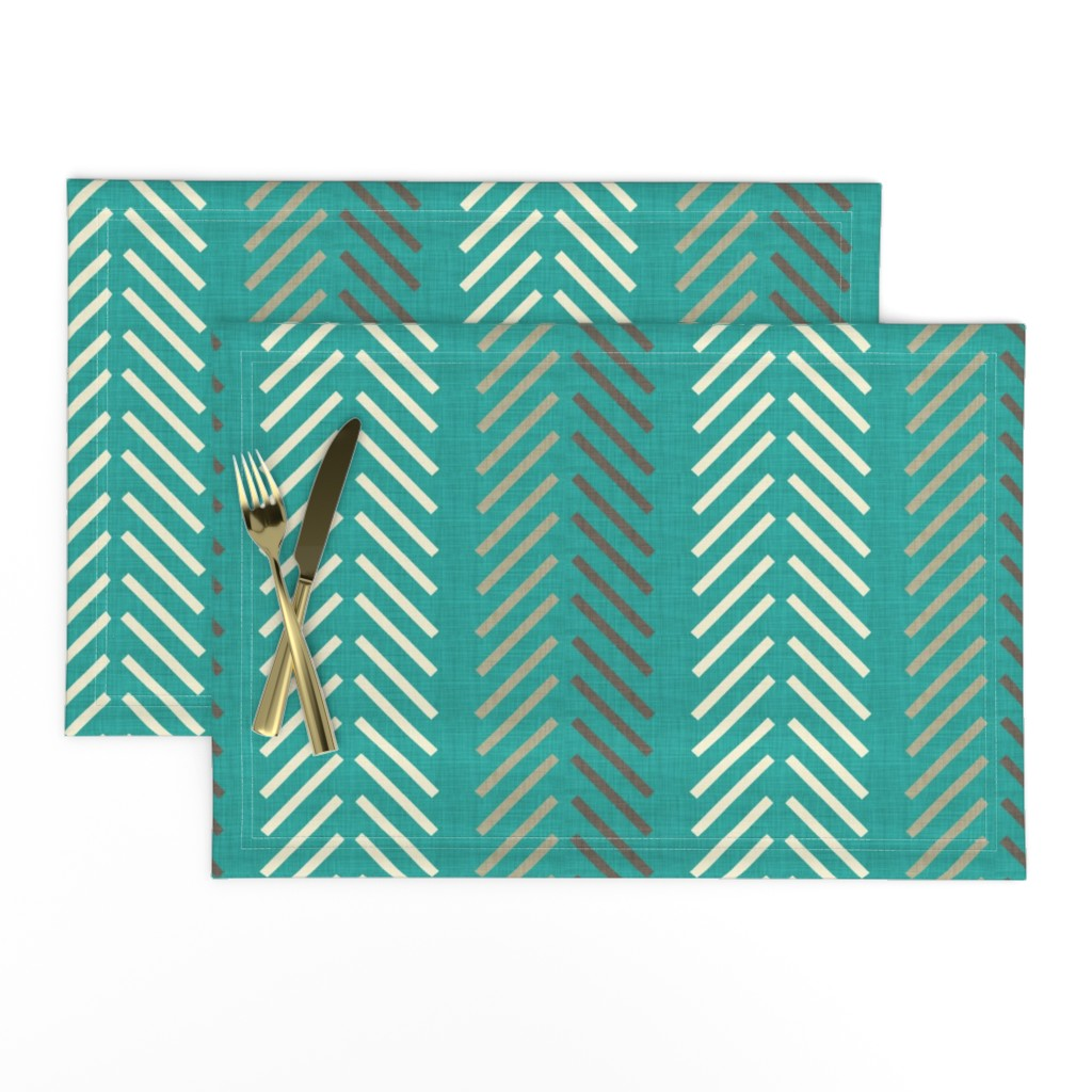 Lamona Cloth Placemats featuring multi_feathers_linen by holli_zollinger