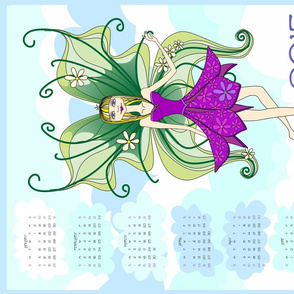Philomena in the clouds - 2015 Calendar tea towel