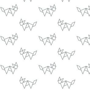 Tangram fox in grey outline on white
