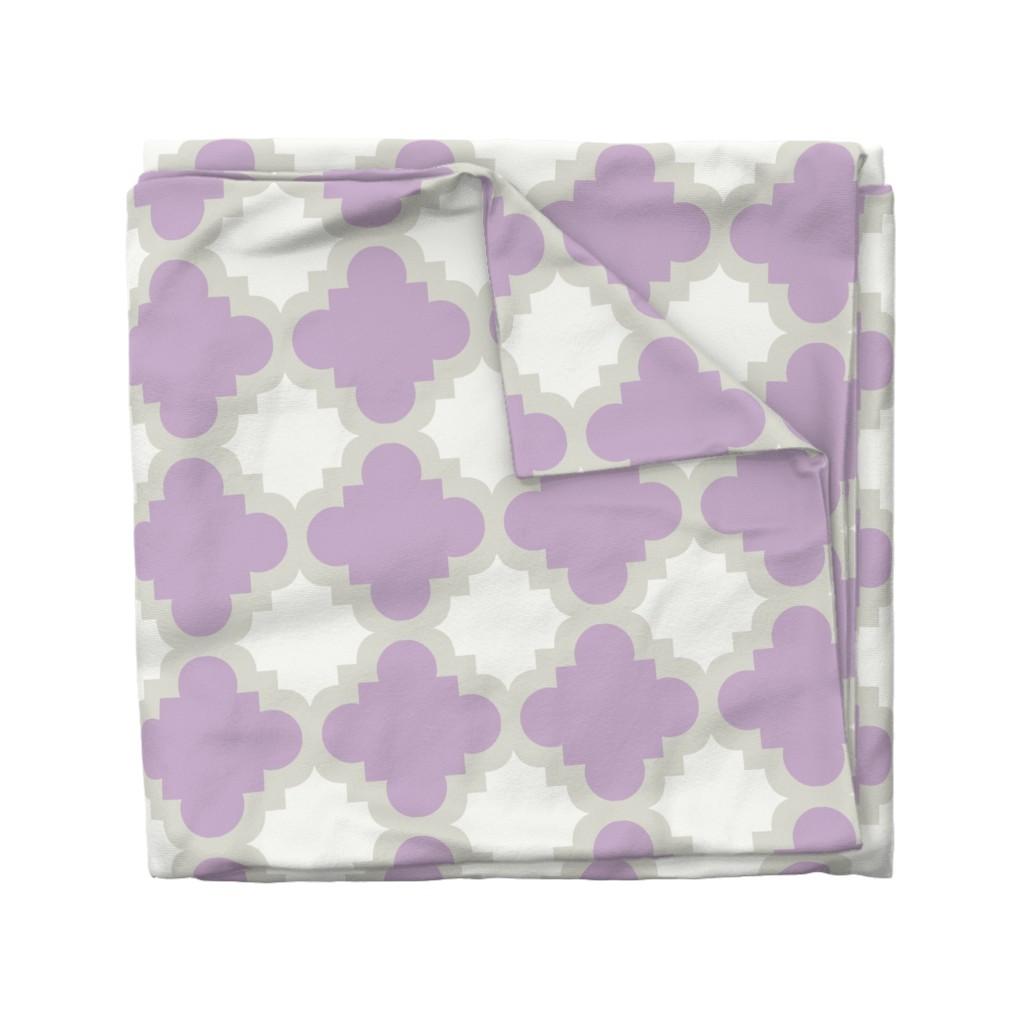 Wyandotte Duvet Cover featuring burst lavender white by mytinystar