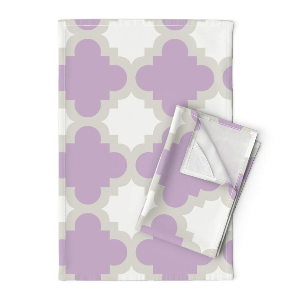 Orpington Tea Towels featuring burst lavender white by mytinystar