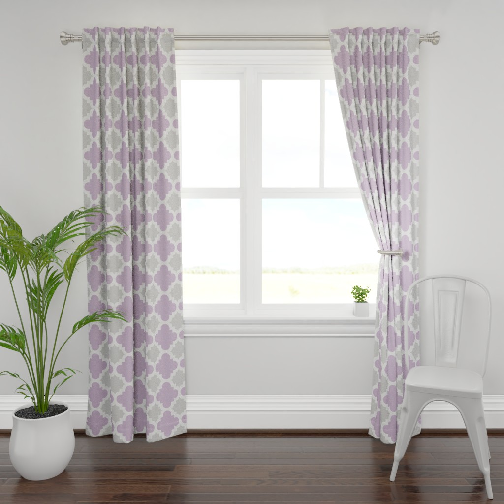 Plymouth Curtain Panel featuring burst lavender and grey by mytinystar