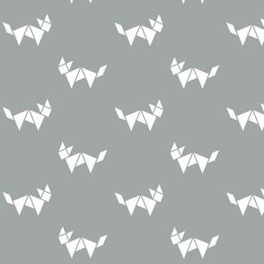 Tangram fox in white on grey