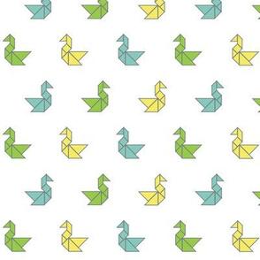 Tangram birds in lime, aqua and lemon on white