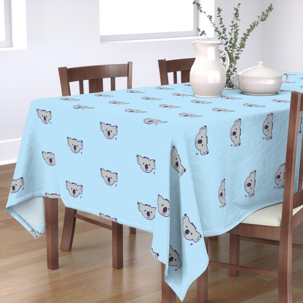Bantam Rectangular Tablecloth featuring karl the koala on baby blue by poppygoeshappy