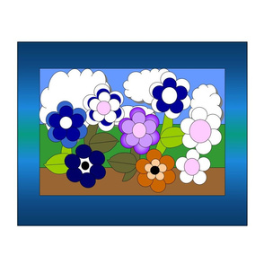 Flower Picture Fabric - Large Panel Fabric