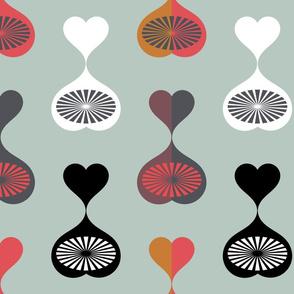 Mid Century Modern Hearts (Teal)