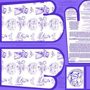 Cool Blue Toile Oven Mitts Fabric Pattern Fat Quarter With Piece Pattern by Kristie Hubler