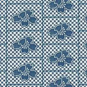 Plum Blossom Quilt - denim blue and white