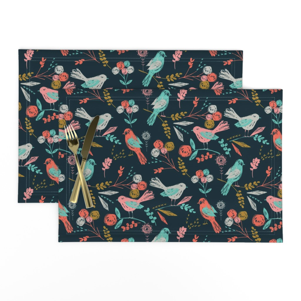Lamona Cloth Placemats featuring Bloom Birds by bethan_janine