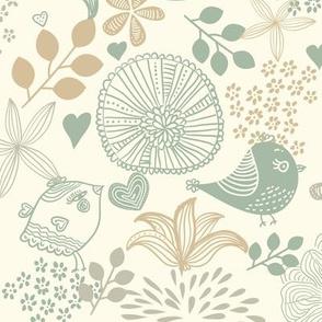Tender Birds and Flowers