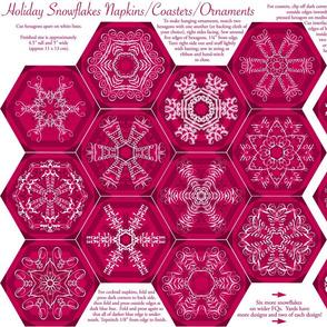 Calligraphic Snowflake napkins in cranberry