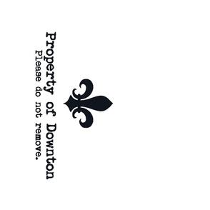 Property of Downton. Tea Towel. Fleur de Lis. Black & White.