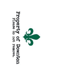 Property of Downton. Tea Towel. Fleur de Lis.  Green.