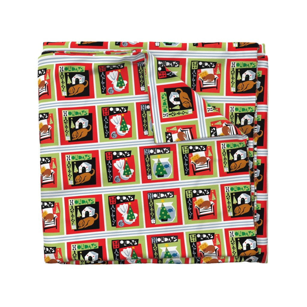 Wyandotte Duvet Cover featuring Happy Holidays with my pets - Christmas  dog cat tree by ottomanbrim