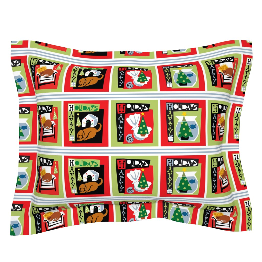 Sebright Pillow Sham featuring Happy Holidays with my pets - Christmas  dog cat tree by ottomanbrim