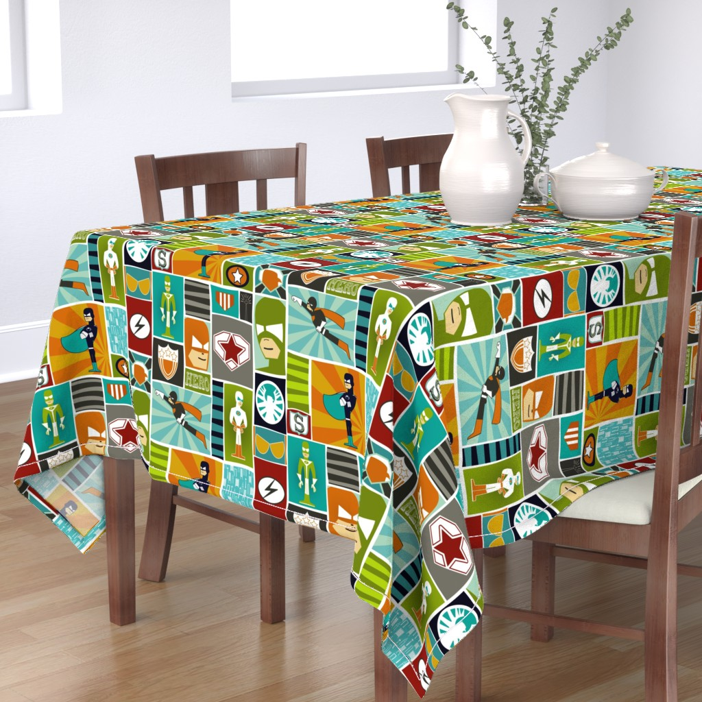 Bantam Rectangular Tablecloth featuring Cool Comic Book Heroes by natitys