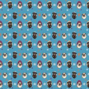 pugs n flowers blue