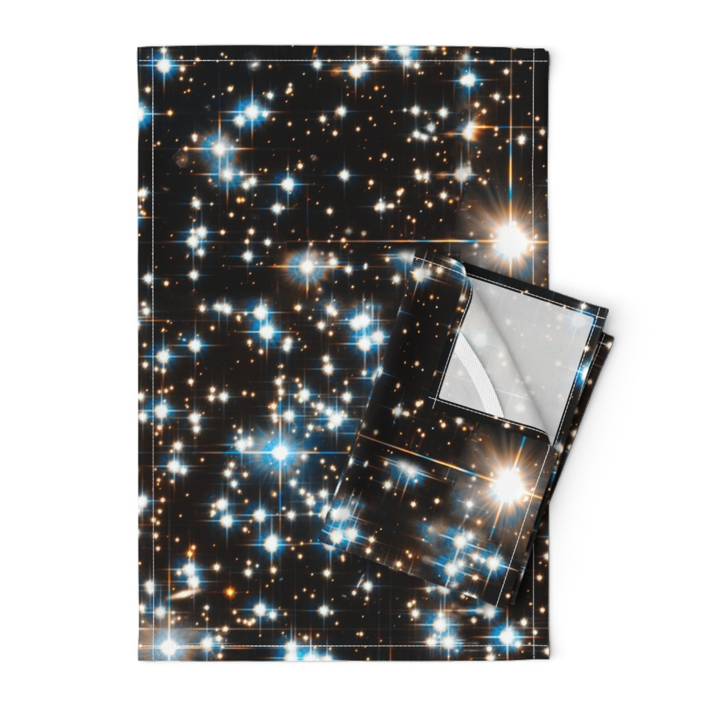 Orpington Tea Towels featuring Stars // Sparkle Star Field Dark Galaxy  by stars_and_stones
