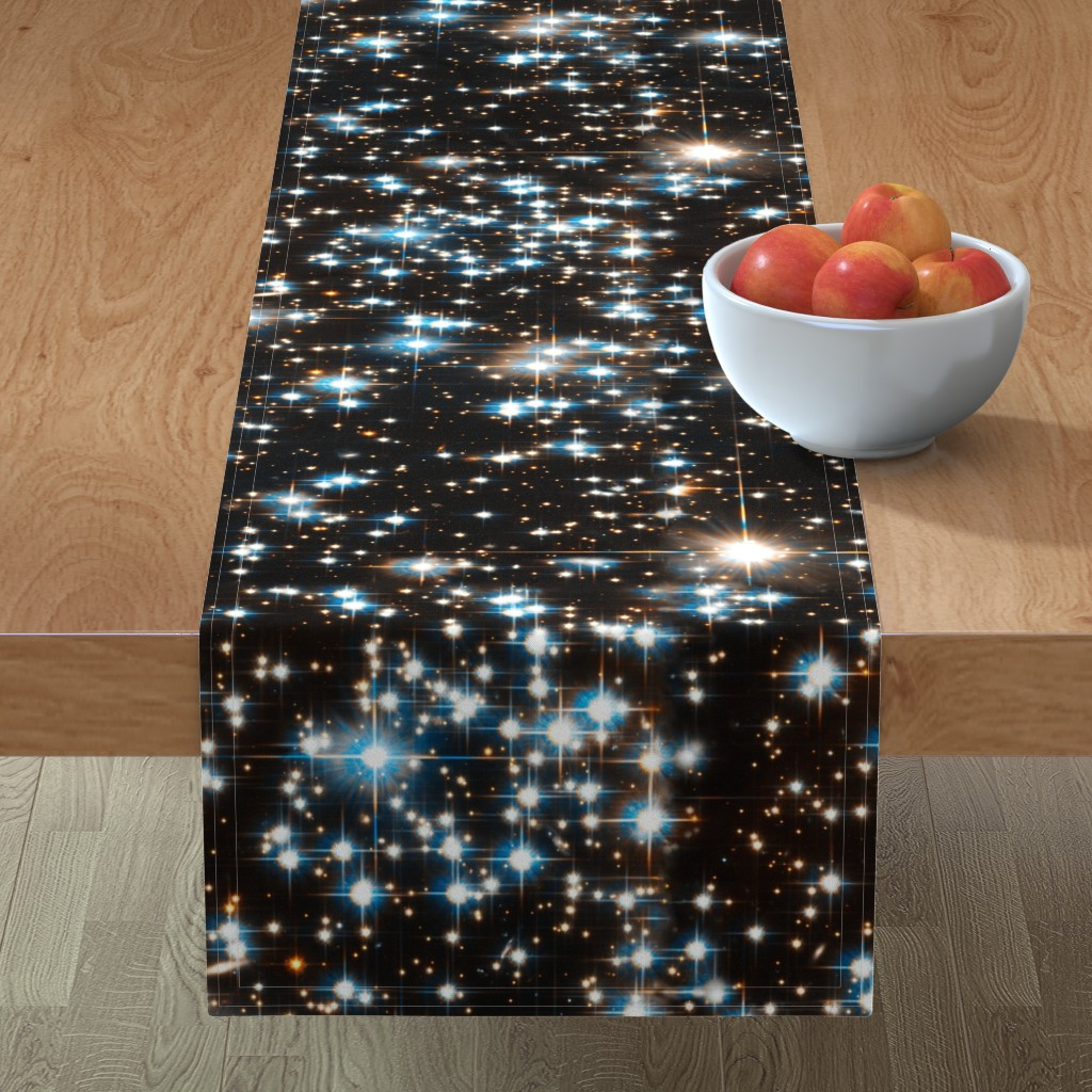 Minorca Table Runner featuring Stars // Sparkle Star Field Dark Galaxy  by stars_and_stones