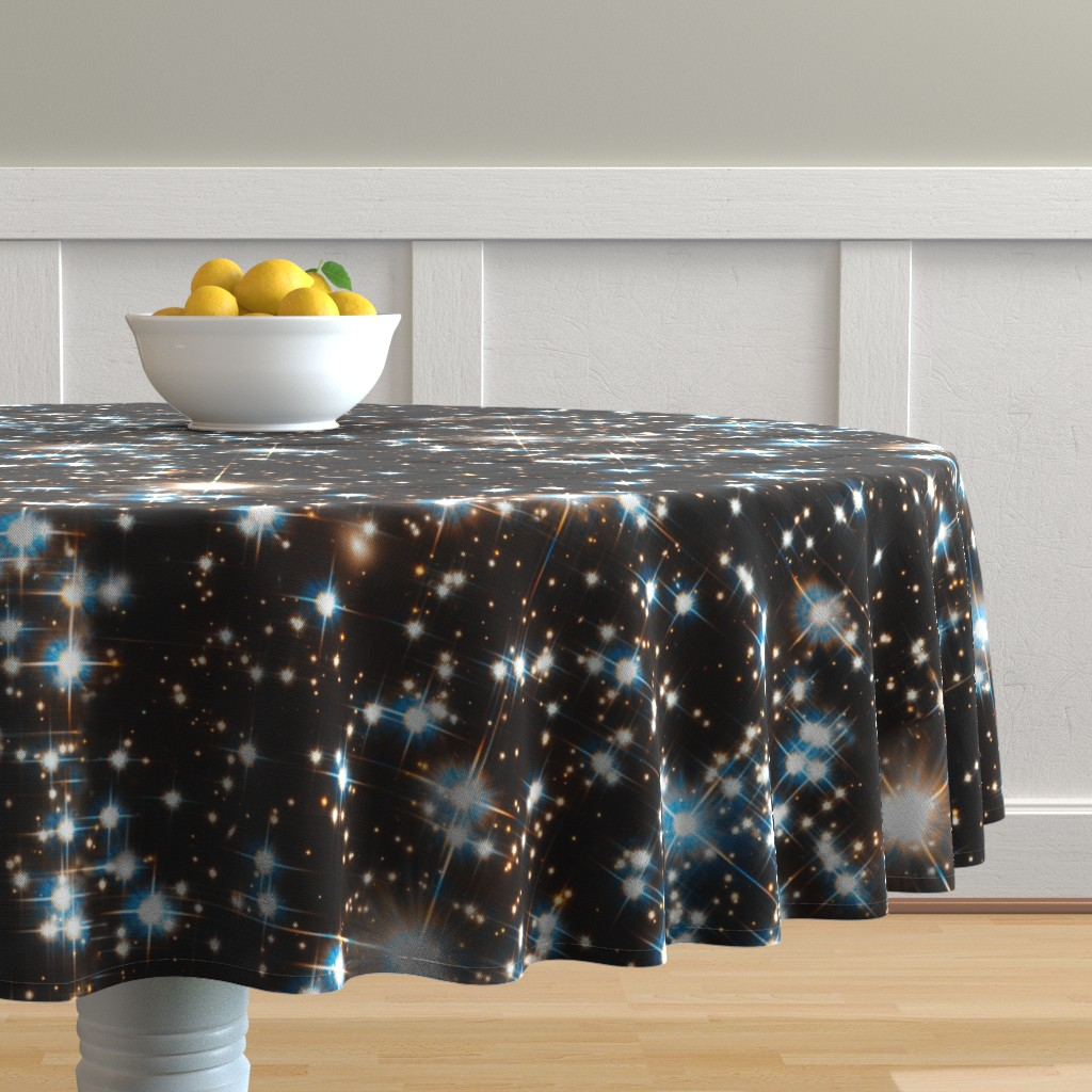 Malay Round Tablecloth featuring Stars // Sparkle Star Field Dark Galaxy  by stars_and_stones